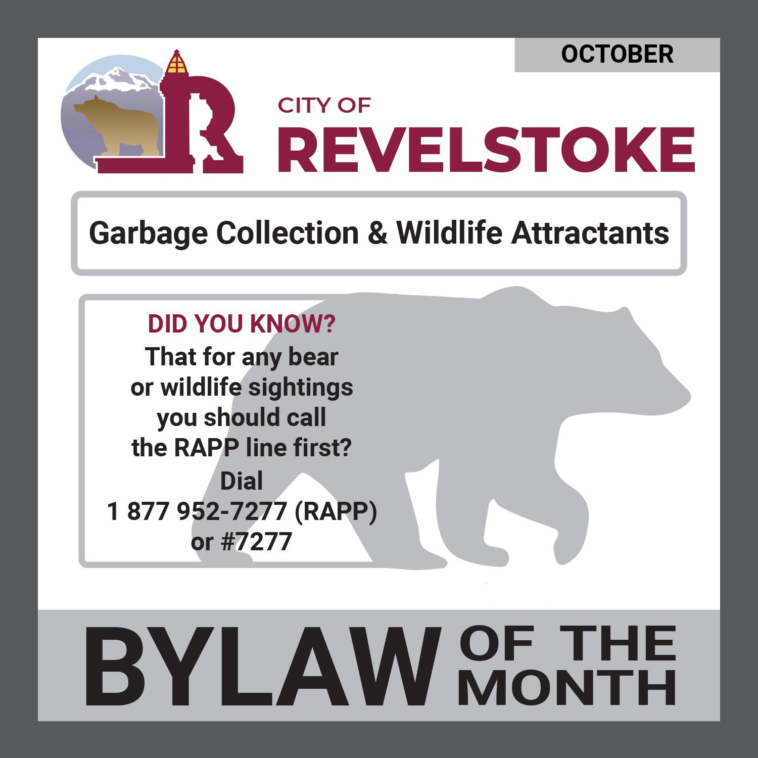 Bylaw of the Month_October_Garbage Collection and Wildlife Attractants-web page