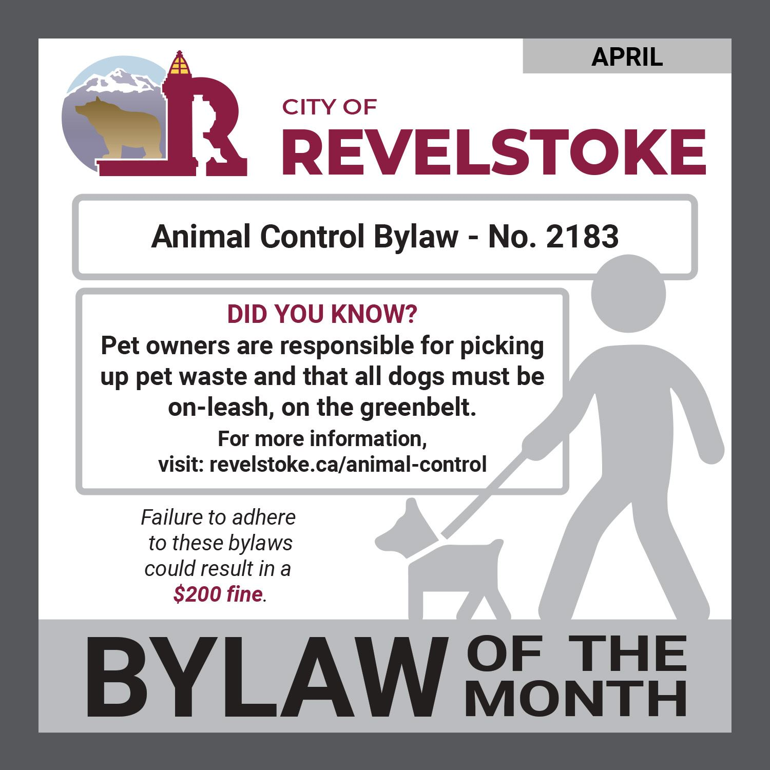 Bylaw of the Month_April-Pet Waste and Off Leash