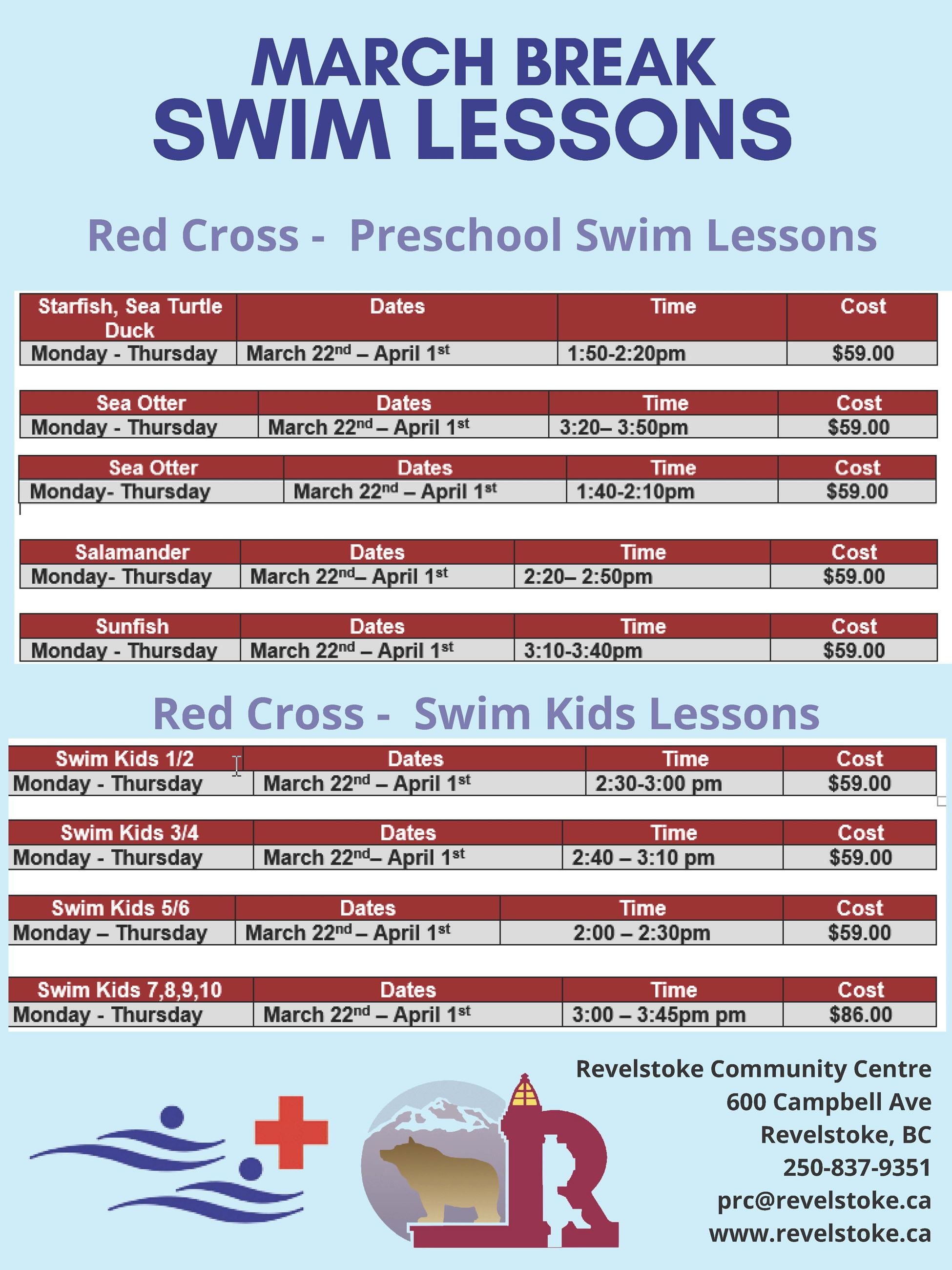 March Break Swim Lessons - Winter 2021 Poster